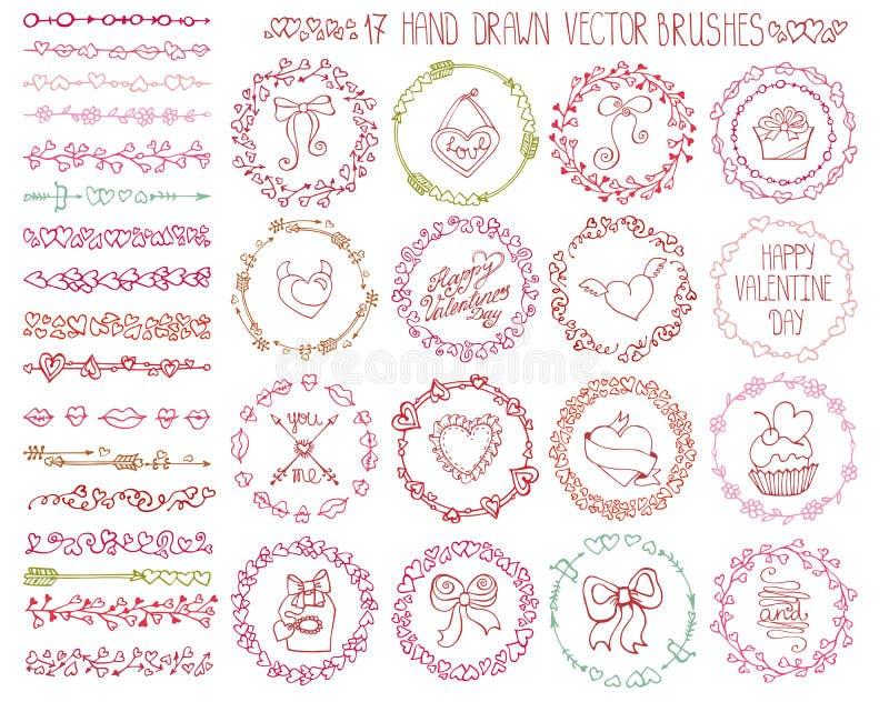 De krabbelborstels van het liefdehart Valentine, huwelijkskroon royalty-vrije illustratie