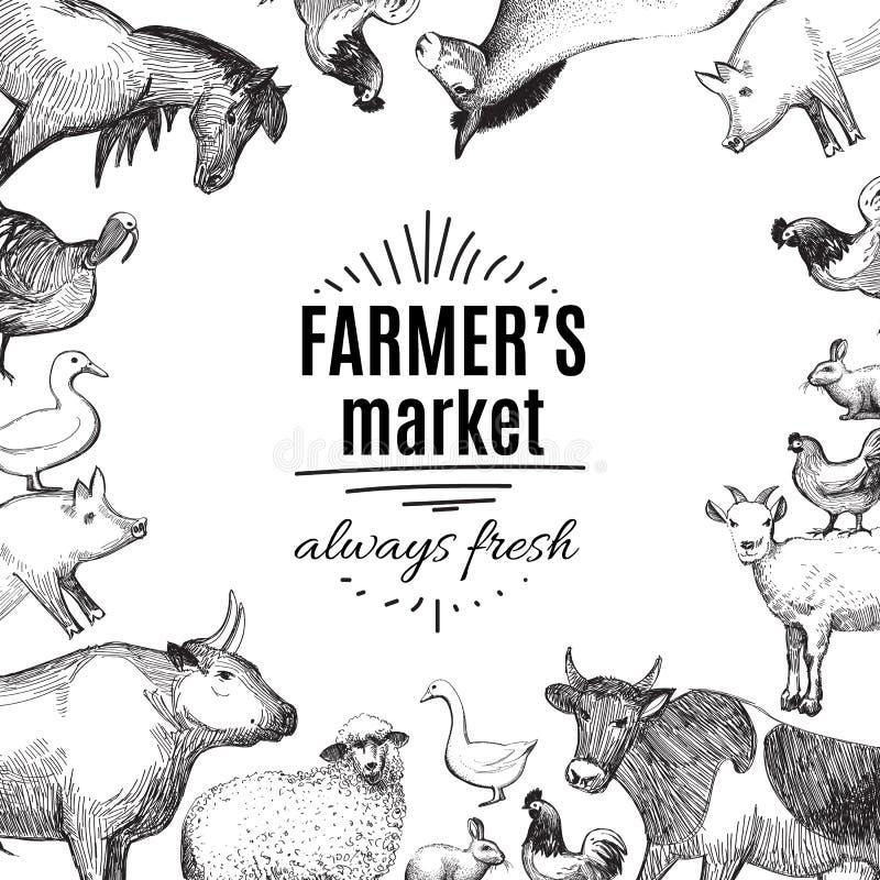 De krabbeletiket of kenteken van de landbouwers` s markt Vector vector illustratie