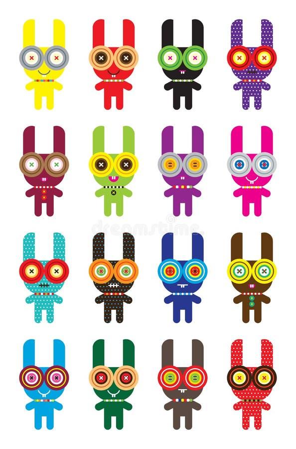 De krabbelinzameling van het konijntje vector illustratie