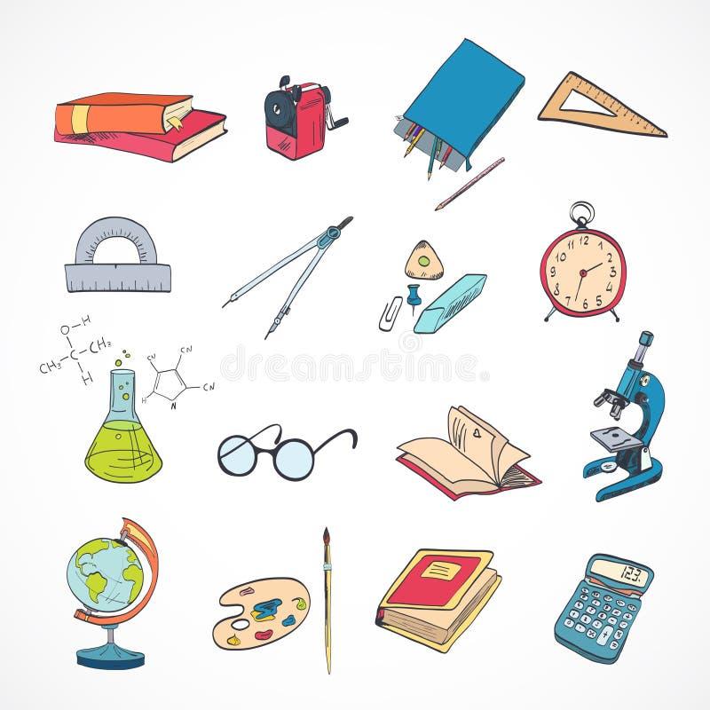 De krabbelkleur van het onderwijspictogram stock illustratie