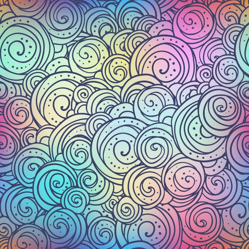 De krabbelpatroon van Circulesethno op vage kleurrijke achtergrond De vectorillustratie van de Bohostijl royalty-vrije illustratie