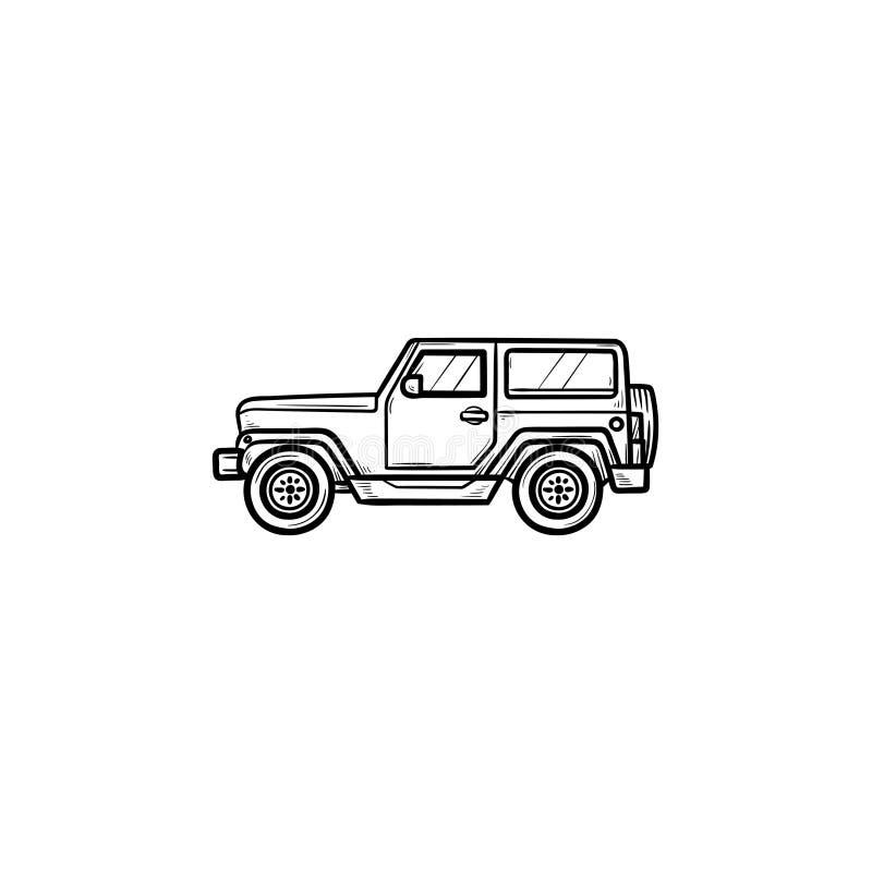 De krabbelpictogram van het jeephand getrokken overzicht vector illustratie