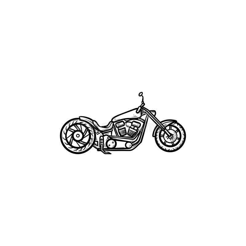 De krabbelpictogram van het motorfietshand getrokken overzicht stock illustratie
