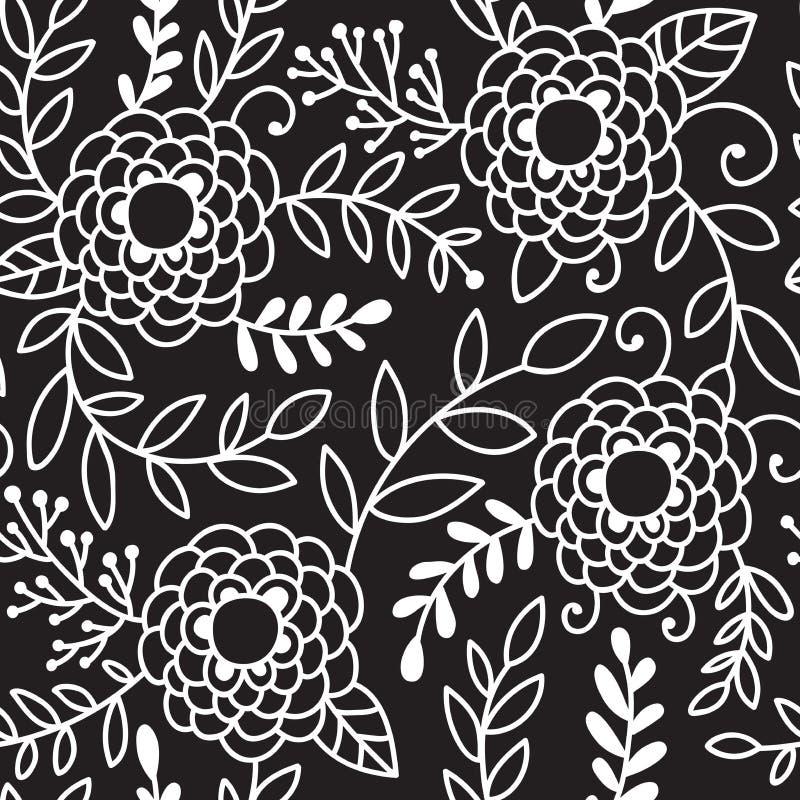 De krabbelpioen bloeit vector naadloos patroon Zwart-witte hand getrokken bloemenachtergrond stock illustratie