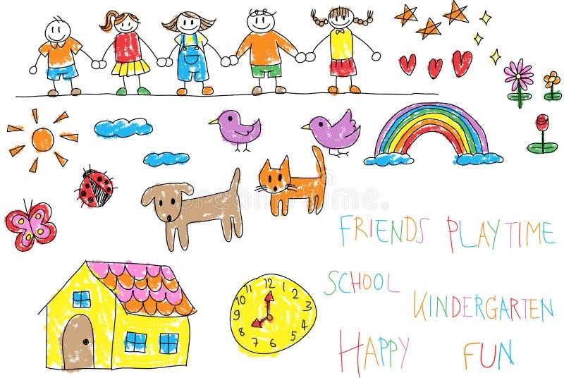 De krabbelpotlood van kleuterschoolkinderen en de tekening van de kleurpotloodkleur van stock illustratie