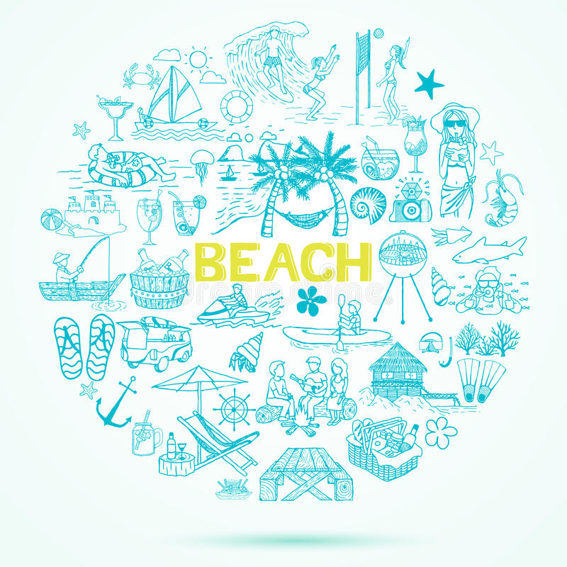 De krabbelreeks van het strandthema stock illustratie