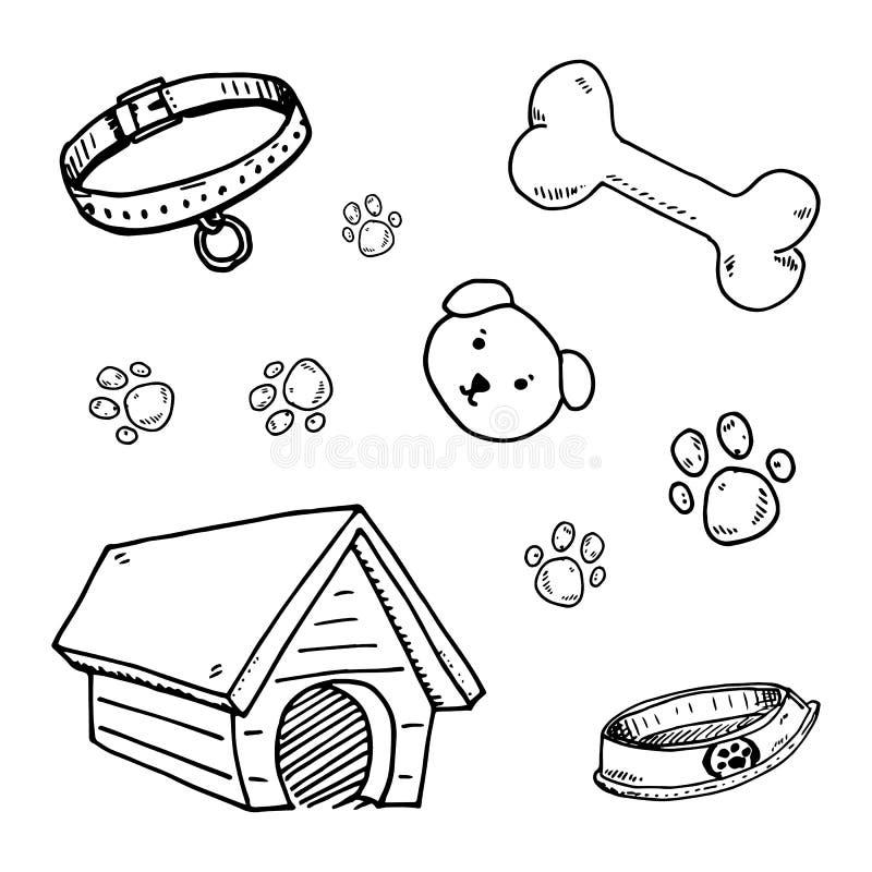 De krabbelreeks van huisdierenpictogrammen, hondehok, been, poten, hondgezicht, kraaghond, kom voor voer vectorillustraties stock illustratie