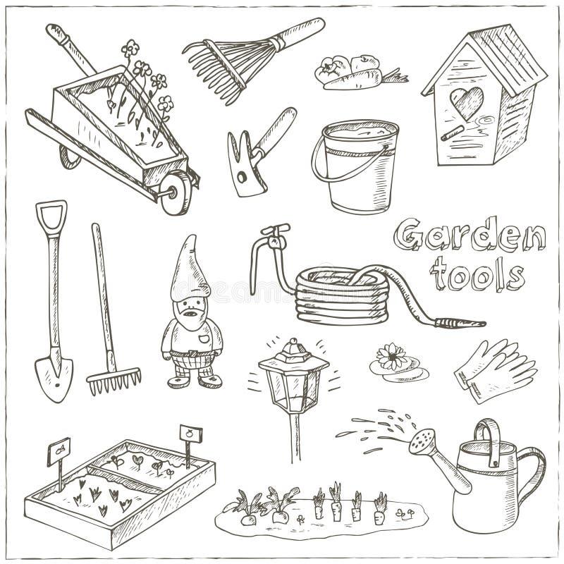De krabbelreeks van tuinhulpmiddelen Diverse materiaal en faciliteiten voor het tuinieren en landbouw stock illustratie