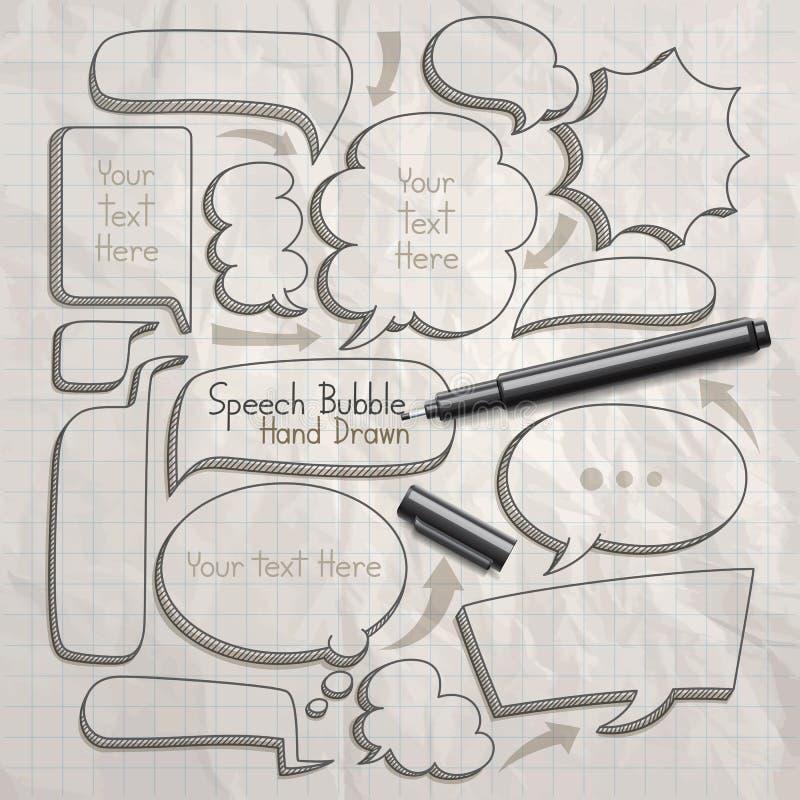 De krabbels van de toespraakbel overhandigen getrokken vector illustratie