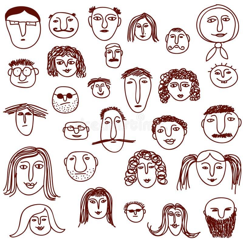 De krabbels van gezichten stock illustratie