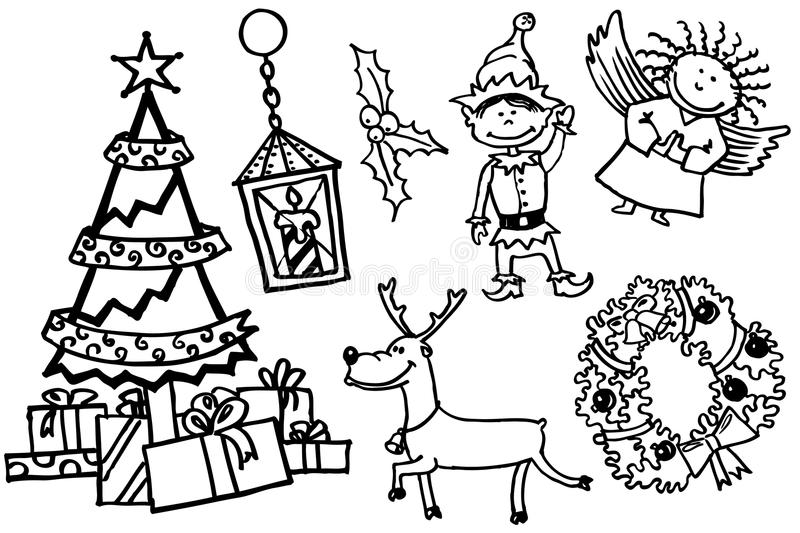De krabbels van Kerstmis royalty-vrije illustratie