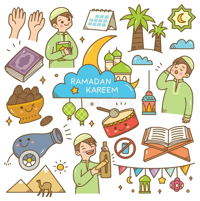 De krabbels van Ramadankawaii stock illustratie