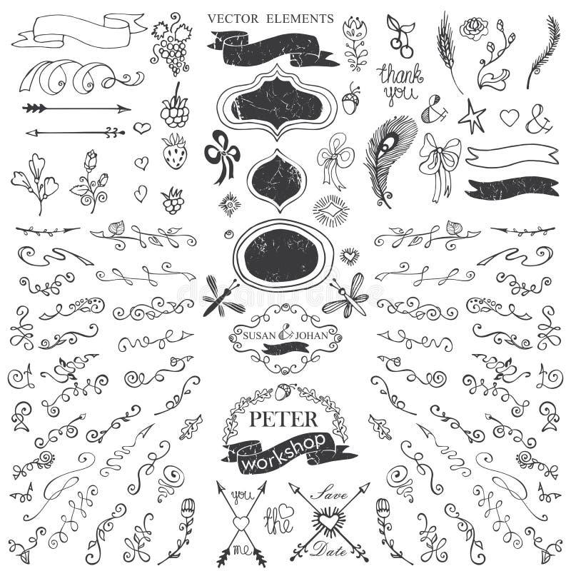 De krabbelsgrens, beweegt, linten, bloemblaadjedecor malplaatje stock illustratie