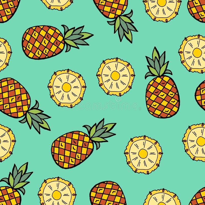De krabbelsstijl van het ananasbeeldverhaal vector illustratie