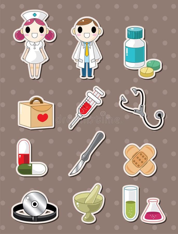 De krabbelstickers van het ziekenhuis vector illustratie