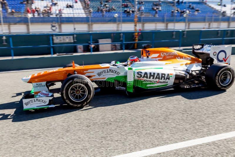 De Kracht van het team India F1, Jules Bianchi, 2013 royalty-vrije stock afbeelding