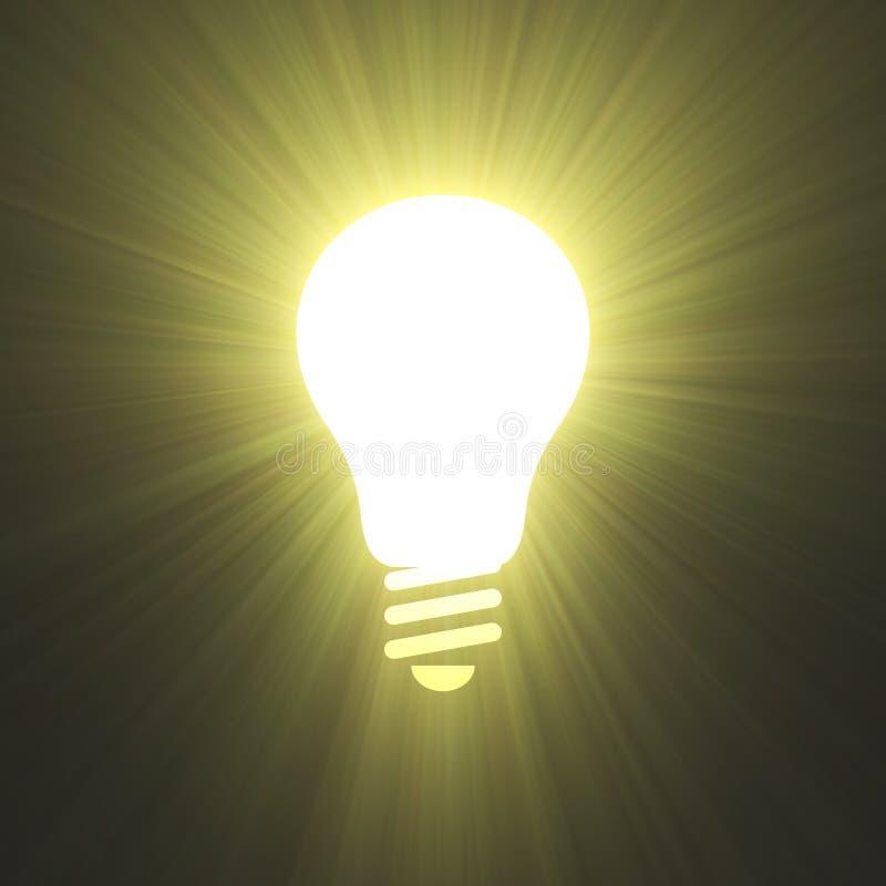 De krachtige lichte gloed van het Lightbulbsymbool stock illustratie