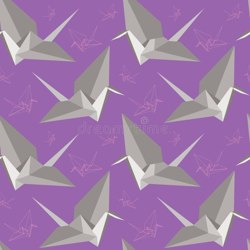 De Kranen van de Vrede van de origami Naadloos patroon royalty-vrije illustratie