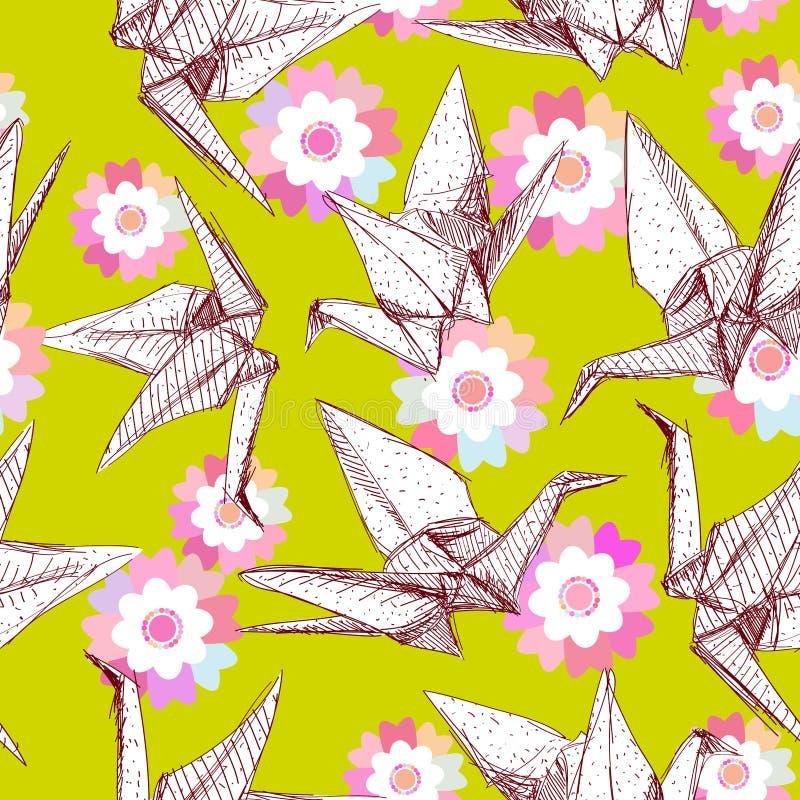 De kranen van het origami Witboek geplaatst schets naadloos patroon Aard oosterse achtergrond met Japanse de bloemen en de vogels stock illustratie