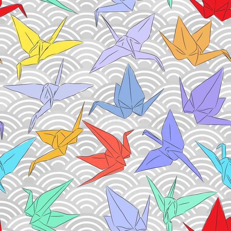 De kranen van het origami Witboek geplaatst schets naadloos patroon schreeuwt de oosterse achtergrond van de lijnaard met Japans  royalty-vrije illustratie