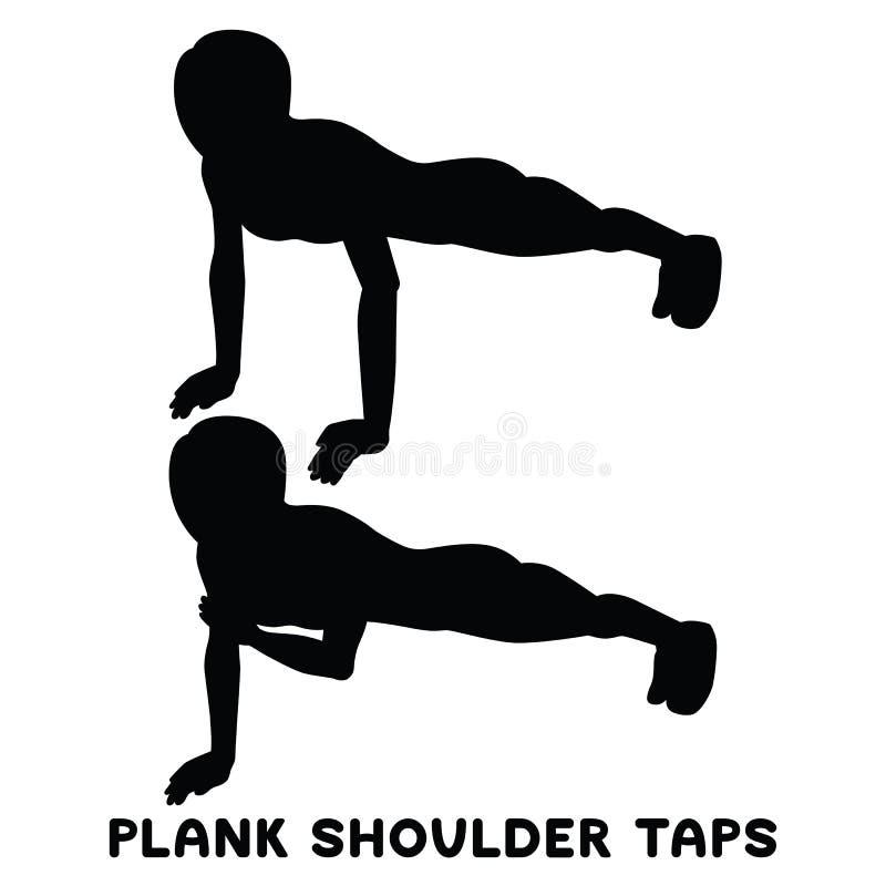 De kranen van de plankschouder Sportexersice Silhouetten die van vrouw oefening doen Training, opleiding stock illustratie