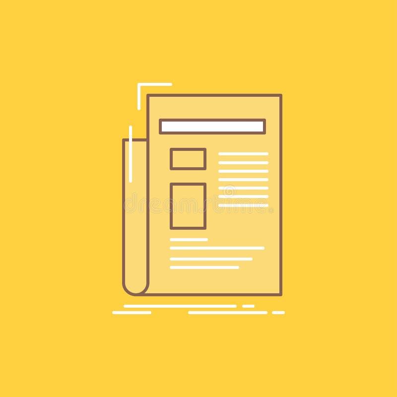 De krant, media, nieuws, bulletin, kranten Vlakke Lijn vulde Pictogram Mooie Embleemknoop over gele achtergrond voor UI en UX, vector illustratie