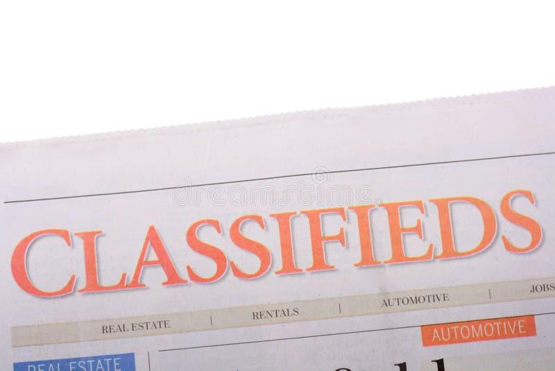 De krant van Classifieds royalty-vrije stock afbeeldingen