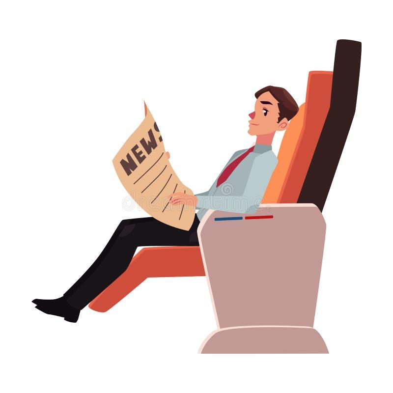 De krant van de zakenmanlezing in van het commerciële de zetel klassenvliegtuig royalty-vrije illustratie