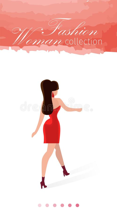 De Krantekop van het de Inzamelingsbeeldverhaal van de maniervrouw op Roze vector illustratie