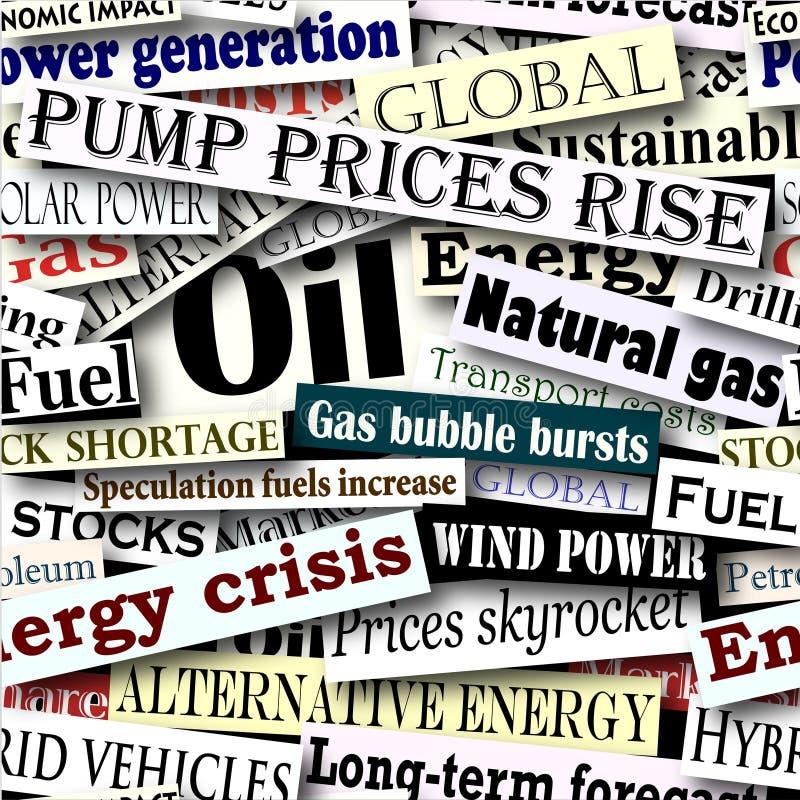 De krantekoppen van de energie stock illustratie