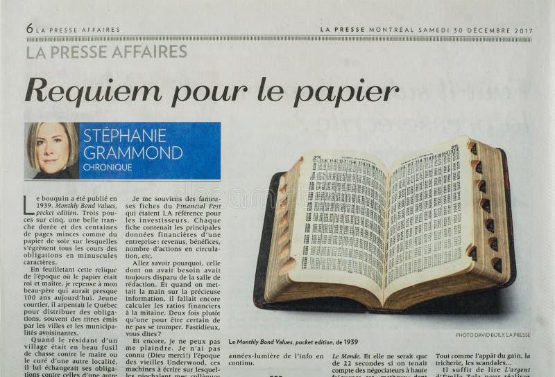 De Kranten van bedrijfs La Presse Sectie stock afbeeldingen