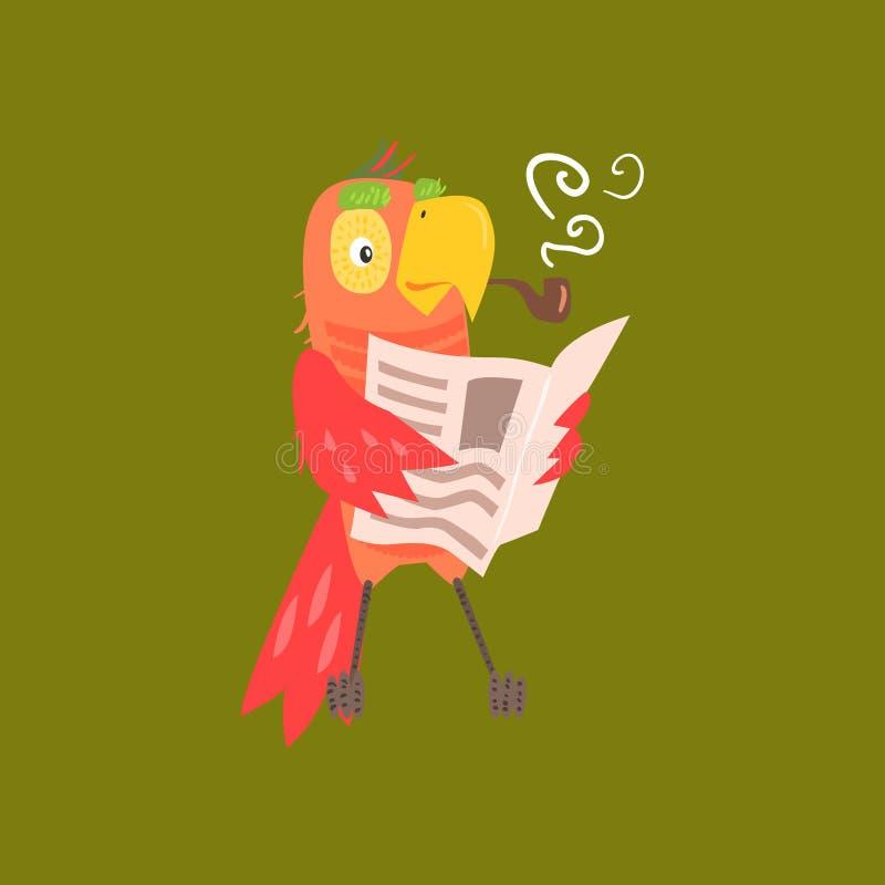 De Krantenbeeld van de papegaailezing stock illustratie