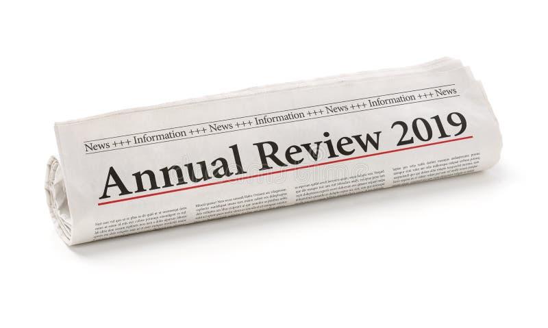 De krantenkoppen met de kop Jaarlijks overzicht 2019 stock afbeelding