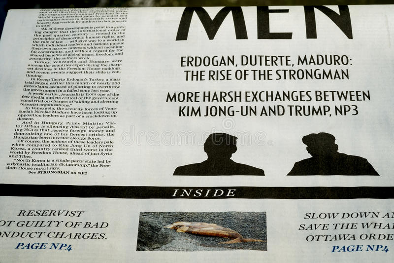 De Krantensectie van Montreal over Noord-Korea royalty-vrije stock afbeelding
