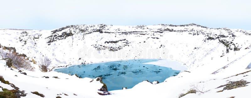 De krater van de Keridvulkaan in het panorama van IJsland royalty-vrije stock foto's