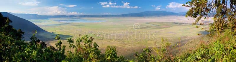 De krater van Ngorongoro in Tanzania, Afrika. Panorama royalty-vrije stock foto's