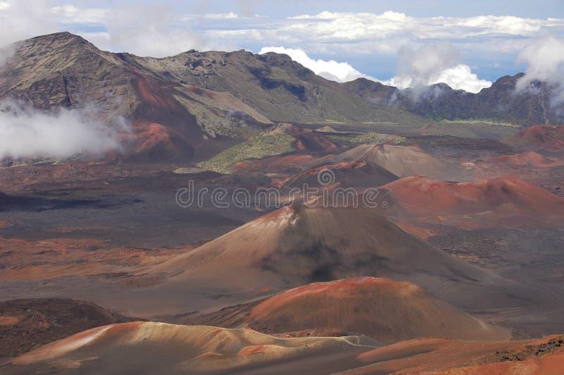 De krater van vulkaan Haleakala. royalty-vrije stock afbeelding