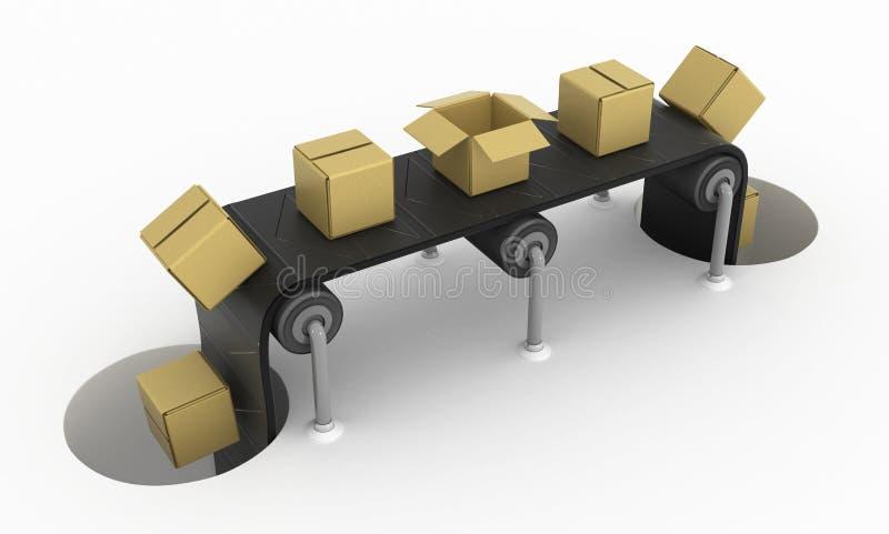 De Kratten van de gatentransportband vector illustratie