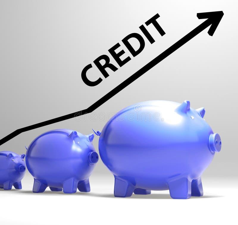 De kredietpijl betekent lenend Schuld en Terugbetalingen royalty-vrije illustratie