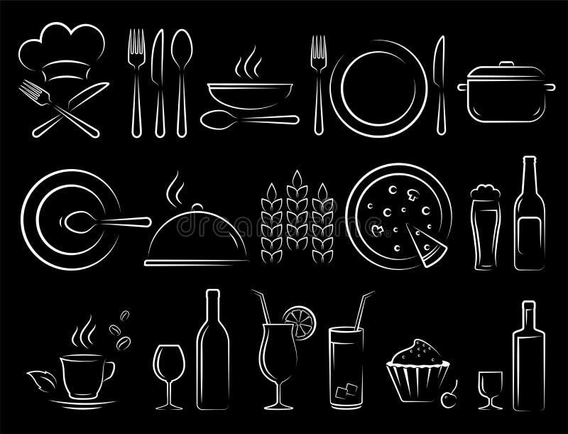 De krijthand trekt geplaatste de pictogrammen van het restaurantvoedsel vector illustratie