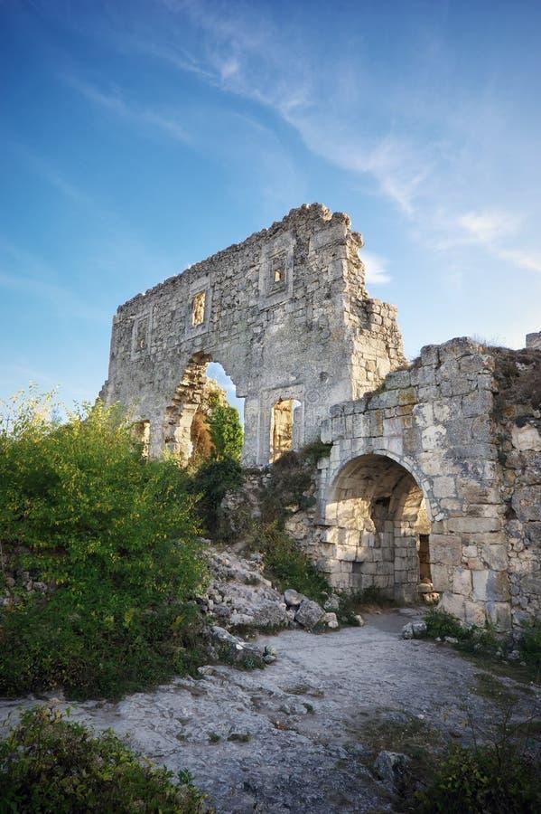 De Krim, ruïnescitadel bovenop berg royalty-vrije stock fotografie