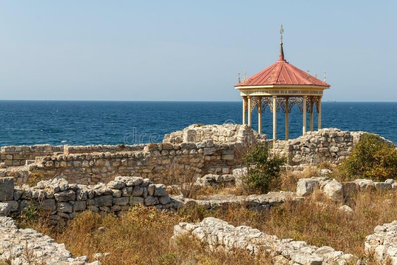 De Krim, Tauric Chersonesos Een kapel op de plaats van een doopsel o royalty-vrije stock afbeeldingen