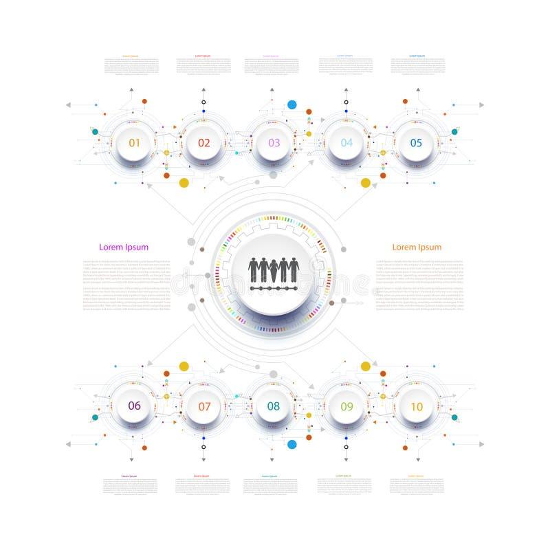 De kring van het de technologiemalplaatje van de Infographicchronologie met 3D en 10 vector illustratie