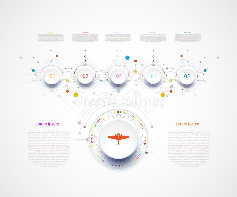 De kring van het de technologiemalplaatje van de Infographicchronologie met 3D en 5 s royalty-vrije illustratie