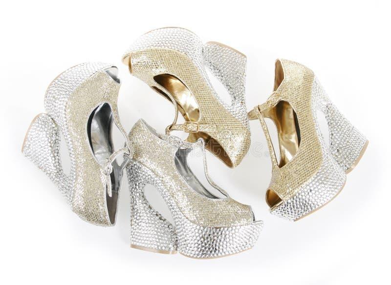 De kristallen encrusted schoenen stock afbeeldingen