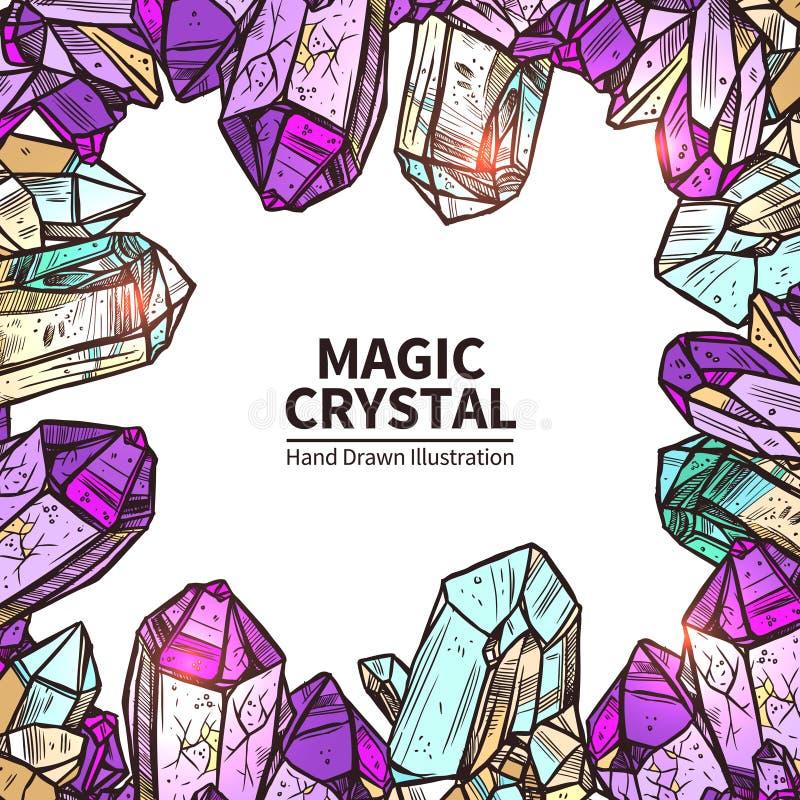De kristallen overhandigen Getrokken Illustratie vector illustratie