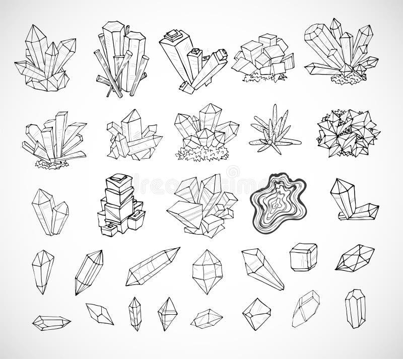 De kristallen van de krabbelschets Inzameling van mineralen op witte achtergrond stock illustratie