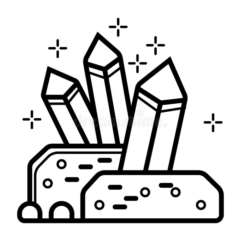 De kristallen van het lijnpictogram vector illustratie