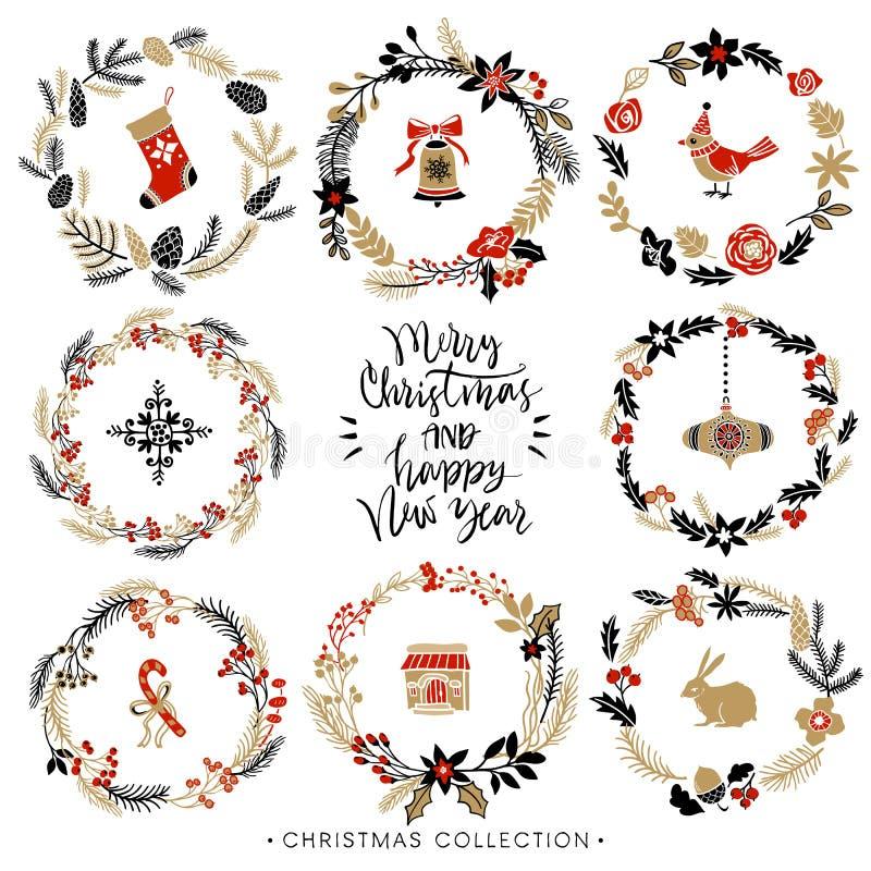 De kronen van de Kerstmisgroet met kalligrafie Hand getrokken elementen vector illustratie