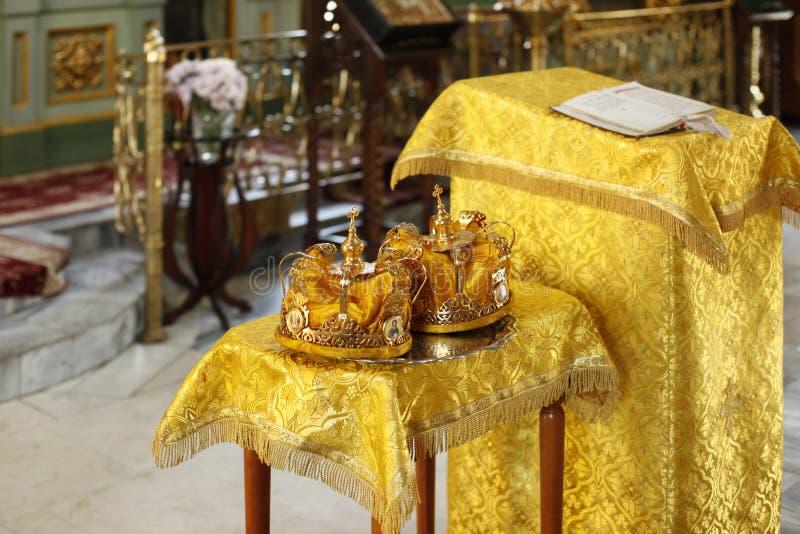 De kronen van het huwelijk stock afbeelding